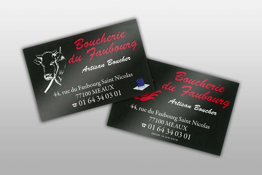 cartes de visite pour m u00e9tiers de la boucherie et traiteurs